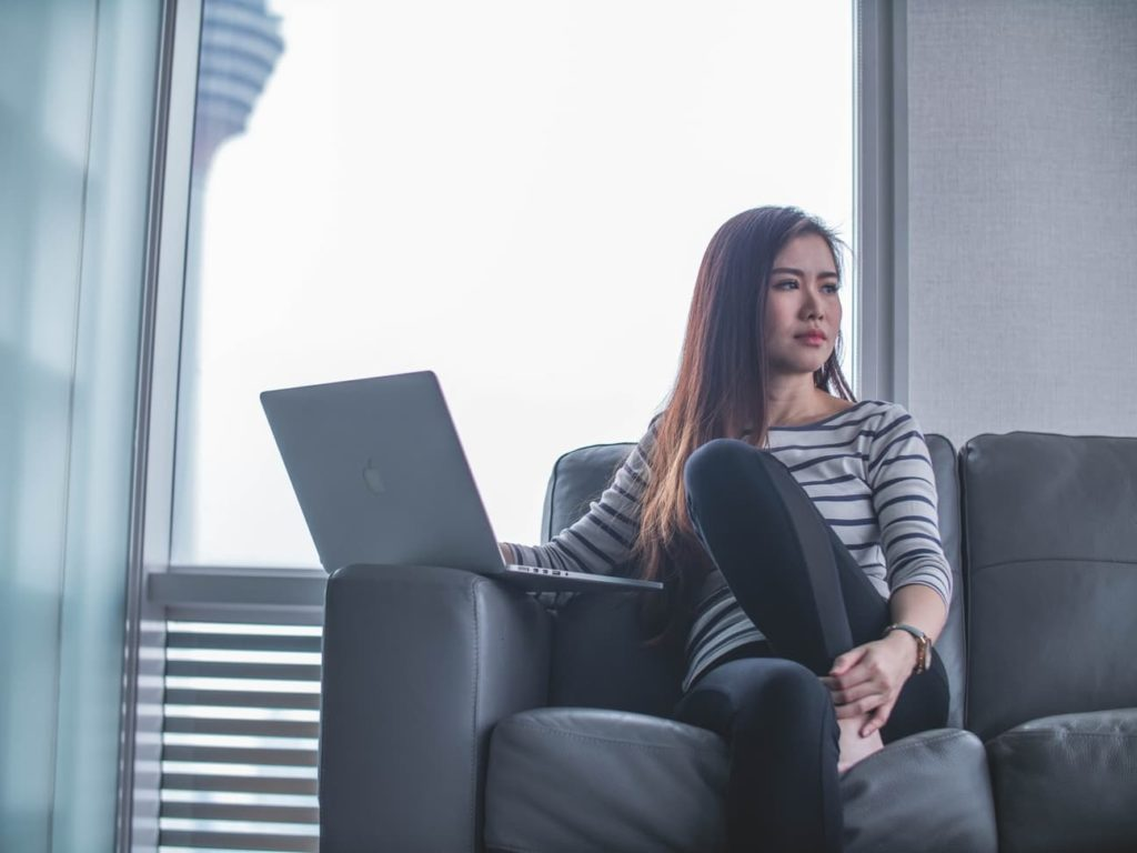 asian lady alone in the office