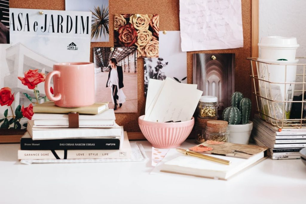 desk with books and other items